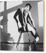 Nude Man On Chair Wood Print by Sumit Mehndiratta
