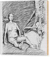 Nude Man With Skeleton Wood Print