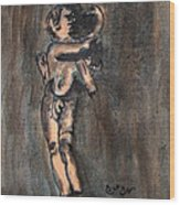Nude Sculpture Young Boy And Pet Duck Religious Symbolism In Orange And Blue Vatican City Wood Print