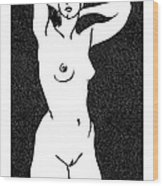 Nude Sketch 19 Wood Print by Leonid Petrushin