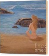 Nude Woman On Beach Wood Print