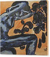 Nude Young Female Seated With Ideas Swirling About Her Head While Crying Wood Print