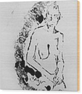 Nude Young Female That Is Mysterious In A Whispy Atmospheric Hand Wringing Pose Highly Contemplative Wood Print