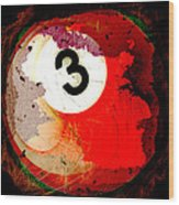 Number 3 Billiards Ball Wood Print by David G Paul