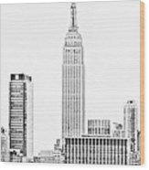 Ny Skyline - Black And White Wood Print