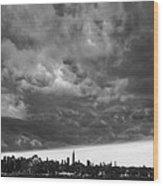 Ny Skyline Approaching Storm Wood Print