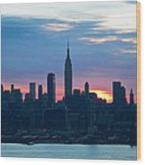 Ny Skyline Blue Dawn Wood Print