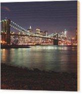 Nyc Brooklyn Nights Wood Print
