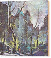 Nyc Central Park Controluce Wood Print by Ylli Haruni