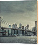 Nyc Skyline In The Sunset V2 Wood Print