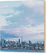 Nyc-sundown Blue I Wood Print