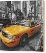 Nyc Yellow Cab Wood Print