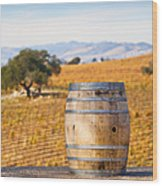 Oak Barrel At Vineyard Wood Print