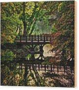 Oak Bridge In Fall Wood Print