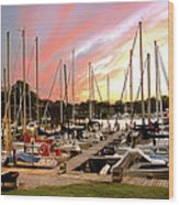 Oak Pt Harbor At Sunset Wood Print