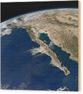 Oblique View Of Baja California Wood Print