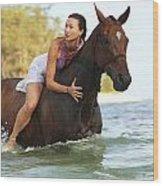 Ocean Horseback Rider Wood Print