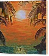 Ocean Kayaker Wood Print