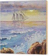Ocean Waves And Sailing Ship Wood Print