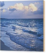 Ocean Waves On Beach At Dusk Wood Print