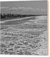 Oceanside In Black And White Wood Print