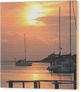 Ocracoke Island Harbor Sunset Wood Print