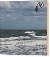 October Beach Kite Surfer Wood Print by Susanne Van Hulst