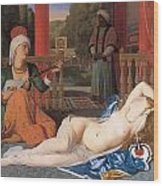 Odalisque With Slave Wood Print by Jean-August-Dominique Ingres