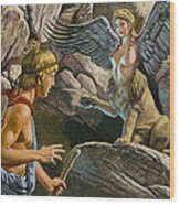Oedipus Encountering The Sphinx Wood Print