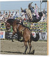 Rodeo Off In A Flash Wood Print