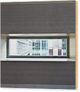 Office Buildings Seen Through Window Wood Print