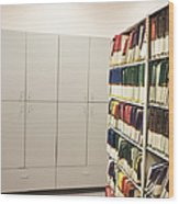 Office Cabinets And Colorful Files Wood Print