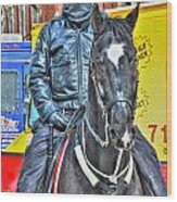 Officer And Black Horse Wood Print