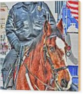 Officer On Brown Horse Wood Print