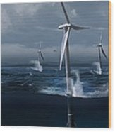 Offshore Wind Farm In A Storm, Artwork Wood Print