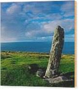 Ogham Stone, Dunmore Head, Dingle Wood Print