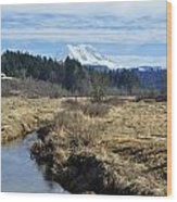 Ohop Valley View Of Rainier Wood Print