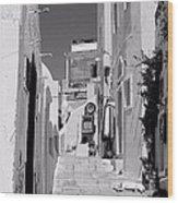 Oia Staircase Bw Wood Print