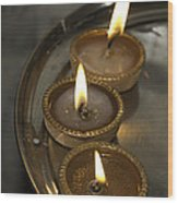 Oil Lamps Kept In A Plate As Part Of Diwali Celebrations Wood Print