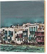 Oill Paint Effect Mykonos Greece Wood Print