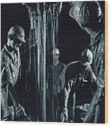 Oilmen Covered In Mud Pull Up A Drill Wood Print