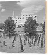 Oklahoma City National Memorial Black And White Wood Print