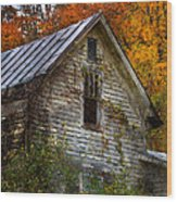 Old Abandoned House In Fall Wood Print