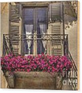 Old Balcony With Red Flowers Wood Print by Mats Silvan