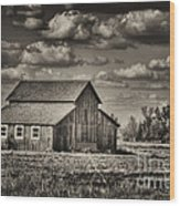 Old Barn After The Storm Black And White Wood Print