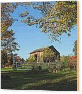 Old Barn During Fall Wood Print