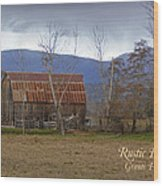 Old Barn In Southern Oregon With Text Wood Print