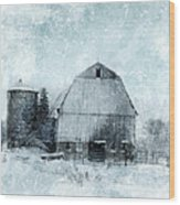 Old Barn In Winter Snow Wood Print