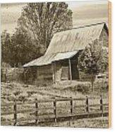 Old Barn Sepia Tint Wood Print