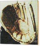 Old Baseball Glove Wood Print